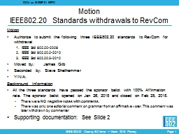 Motion IEEE802.20 Standards withdrawals to PowerPoint Presentation, PPT - DocSlides