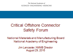 Critical Offshore Connector Safety Forum