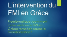 L'intervention du FMI en Grèce