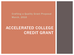 Crafting a Quality Grant Proposal