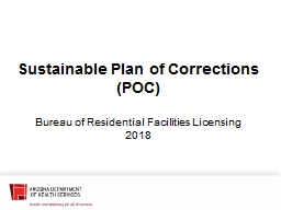 Sustainable Plan of Corrections (POC