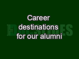 Career destinations for our alumni