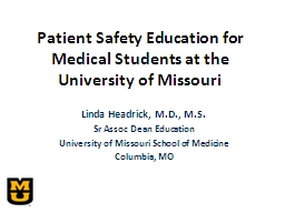 Patient Safety Education for