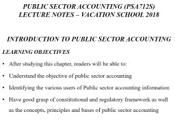 PUBLIC SECTOR ACCOUNTING (PSA712S)