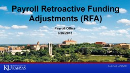 Payroll Retroactive Funding Adjustments (RFA) PowerPoint PPT Presentation