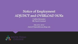 Notice of Employment ADJUNCT and OVERLOAD NOEs