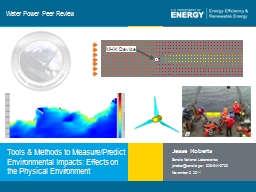 Water Power Peer Review Tools & Methods to Measure/Predict Environmental Impacts: Effects on th