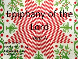 Epiphany of the Lord Year A