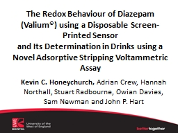 The Redox Behaviour of Diazepam (Valium®) using a Disposable Screen-Printed Sensor