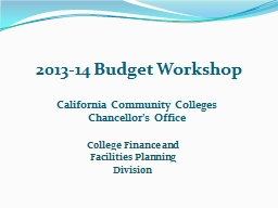2013-14 Budget Workshop