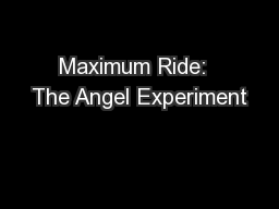 Maximum Ride:  The Angel Experiment PowerPoint PPT Presentation