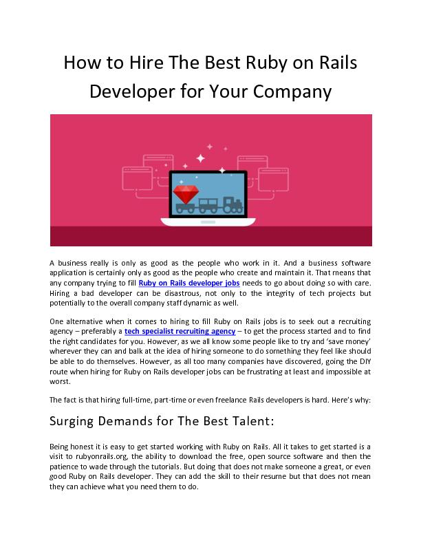 How to Hire The Best Ruby on Rails Developer for Your Company