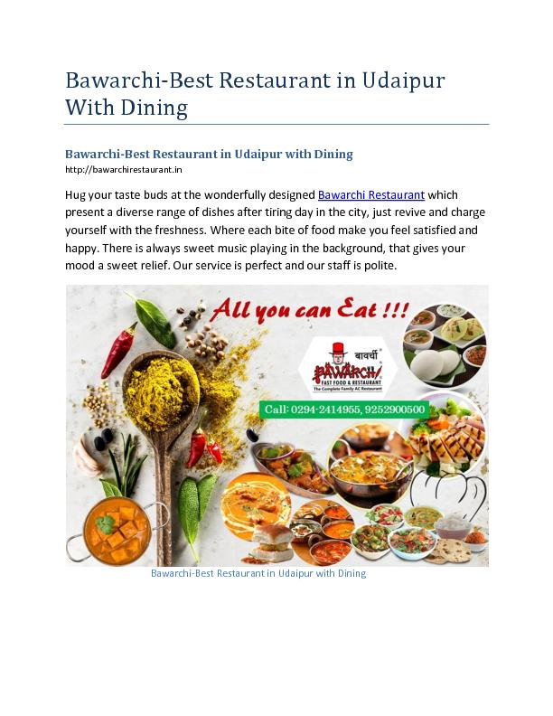 Best Restaurant in Udaipur with Dining Hall-Bawarchi Restaurant