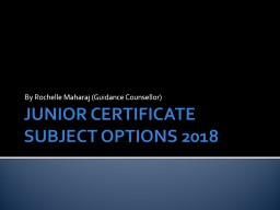 JUNIOR CERTIFICATE SUBJECT OPTIONS 2018
