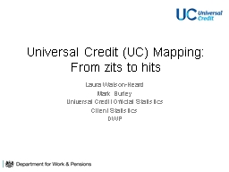 Universal Credit (UC) Mapping: From zits to hits