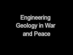 Engineering Geology in War and Peace