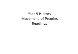 Year 9 History  Movement of Peoples