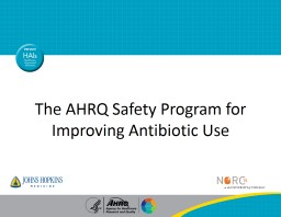 The AHRQ Safety Program for Improving Antibiotic Use