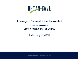 Foreign Corrupt Practices Act Enforcement: