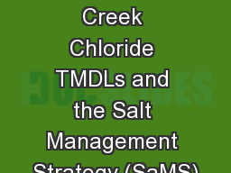 Accotink Creek Chloride TMDLs and the Salt Management Strategy (SaMS)