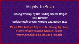 Mighty To Save Hillsong