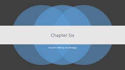 Chapter Six Decision Making and Strategy
