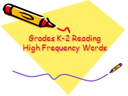 Grades K-2 Reading High Frequency Words