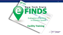 Facility Training eFINDS INTRODUCTION