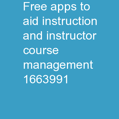 Free Apps to Aid Instruction and Instructor Course Management