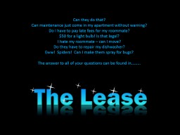 The Lease Can they do that?