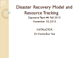 Disaster Recovery Model and Resource Tracking