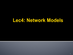 Lec4: Network Models 1 Relationship Between Network Security & Cost