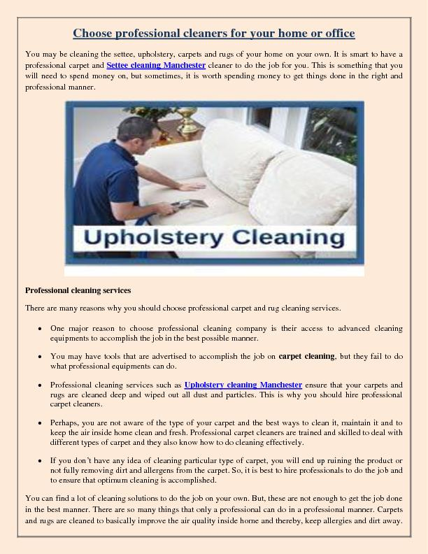 Choose professional cleaners for your home or office PDF document - DocSlides