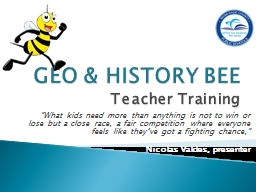GEO & HISTORY BEE Teacher Training