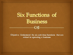 Six Functions of Business