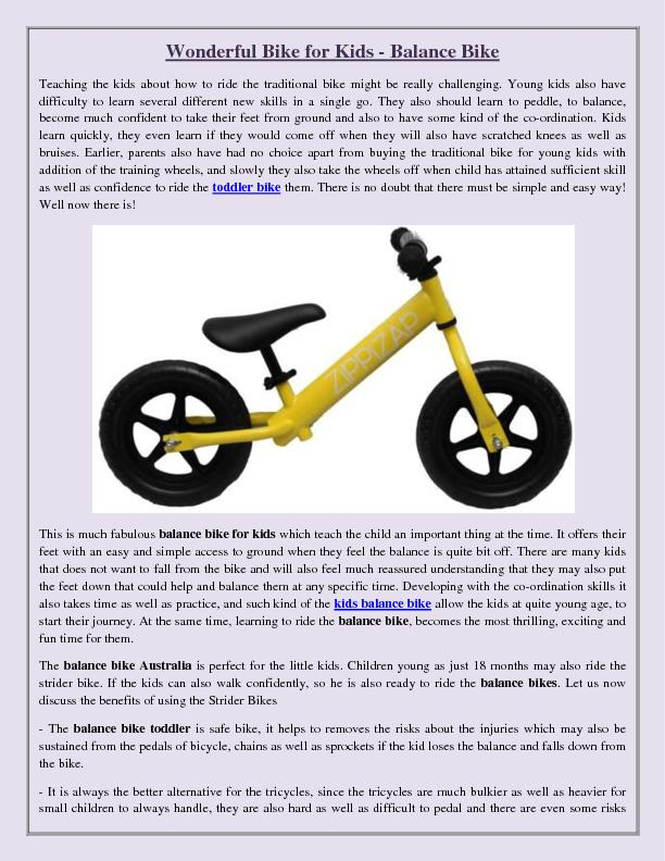 Wonderful Bike for Kids - Balance Bike