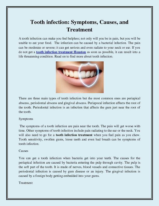 Tooth infection Symptoms, Causes, and Treatment
