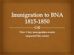Immigration to BNA 1815-1850
