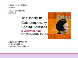 The body in Contemporary Social Science