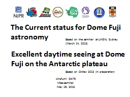 The Current status for Dome Fuji
