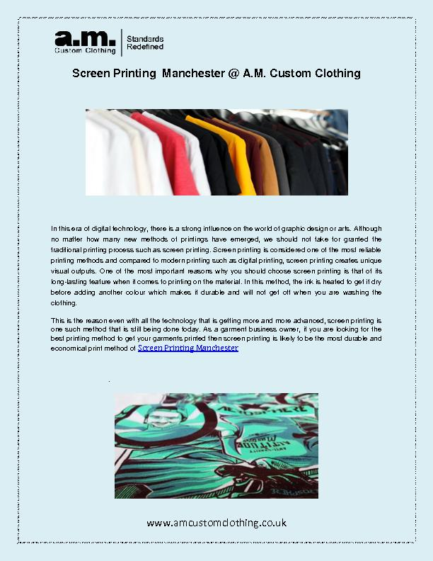 Screen Printing Manchester @ A.M. Custom Clothing
