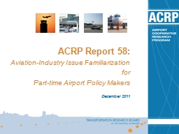 ACRP Report 58: Aviation-Industry Issue Familiarization