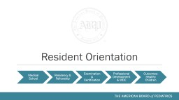Resident Orientation About the American Board of Pediatrics
