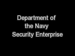 Department of the Navy Security Enterprise
