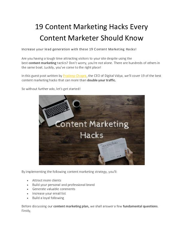 19 Content Marketing Hacks Every Content Marketer Should Know