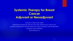 Systemic  Therapy for Breast Cancer