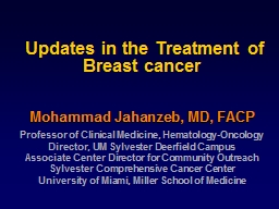 Updates in the Treatment of Breast cancer