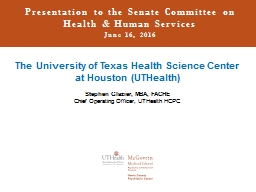 Presentation to the Senate Committee on Health & Human Services