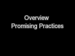Overview Promising Practices