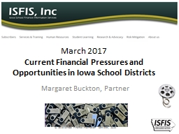 March 2017 Current Financial Pressures and Opportunities in